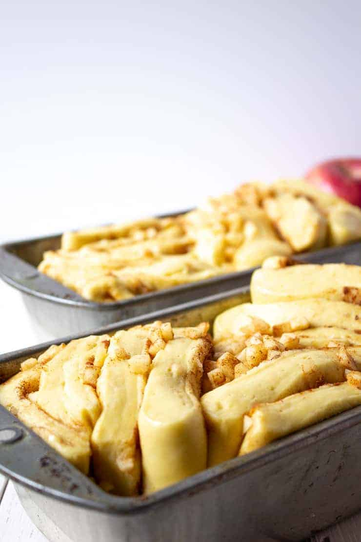 Apple Pull Apart Bread in bread pans ready for the oven.