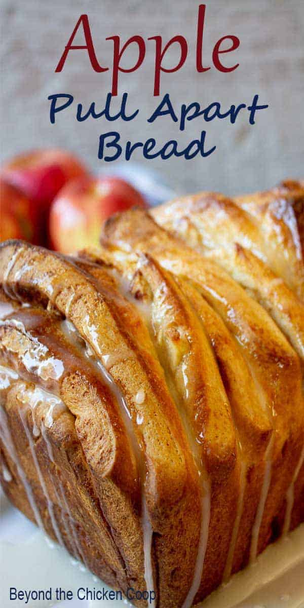 Apple pull apart bread with a fresh drizzle of sugar glaze.