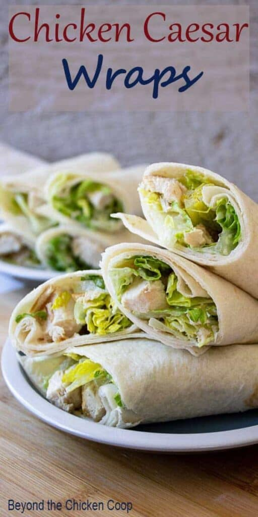 Chicken and Caesar Salad wrapped in a tortilla.