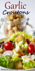 Green salad topped with garlic croutons.