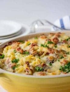 Ham Tetrazzini in a yellow casserole dish