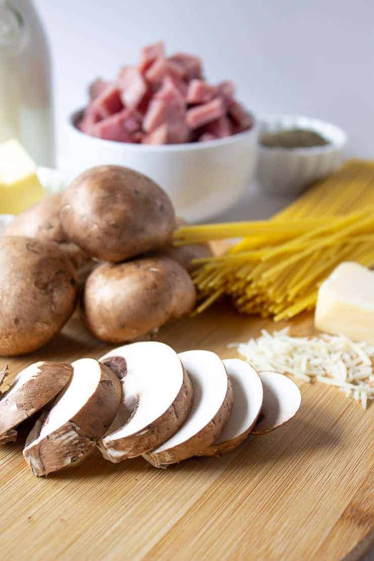 Ingredients needed for Ham Tetrazzini