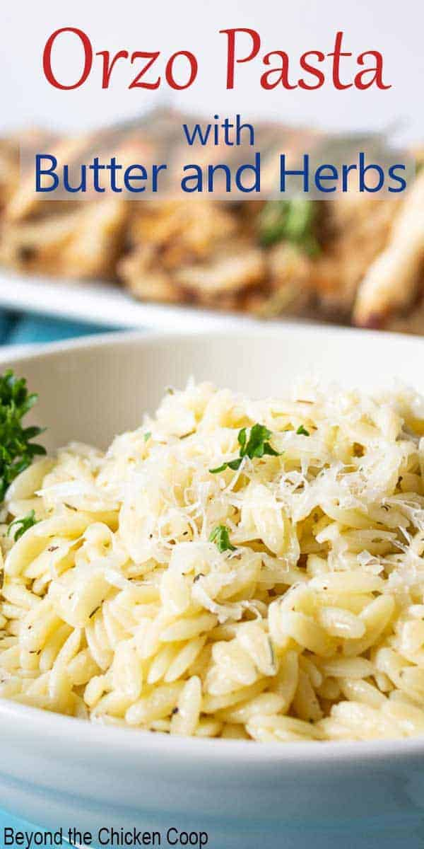 A bowl filled with rice shaped pasta and topped with fresh chopped herbs.