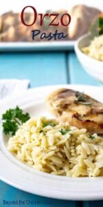 Orzo pasta on a plate with a chicken breast.