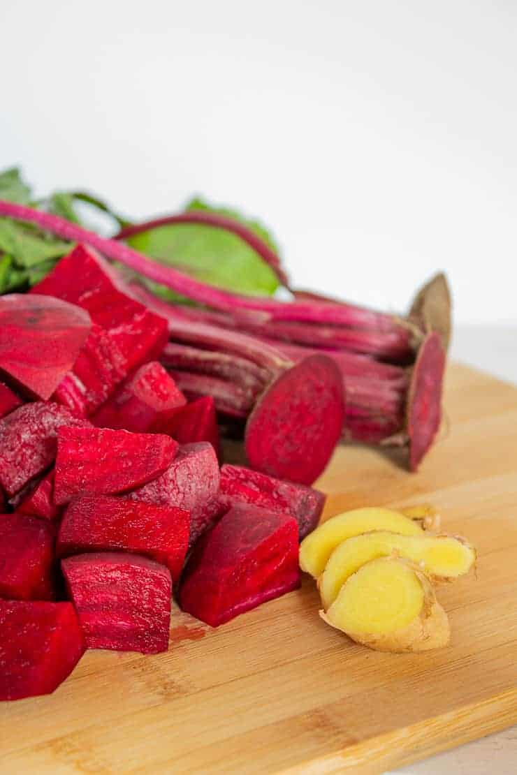 Fresh beets and sliced ginger