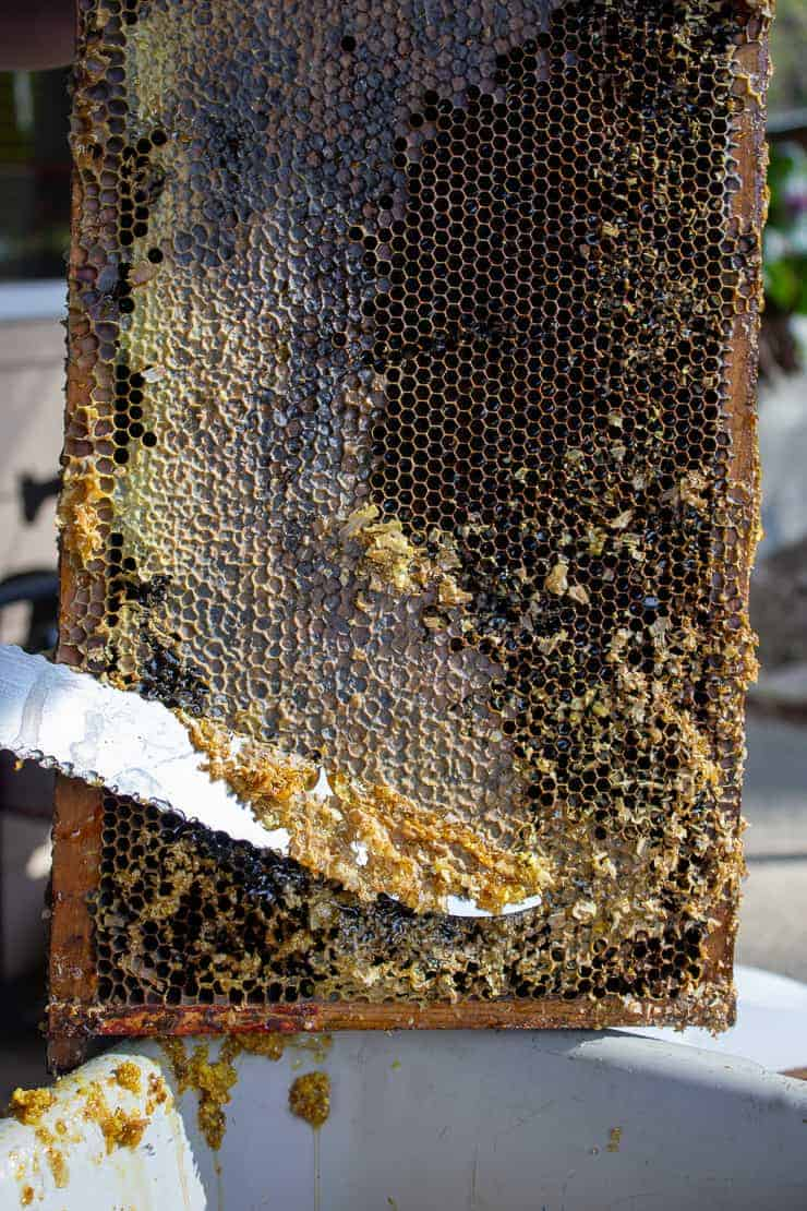 A long knife removing capping from honey comb.