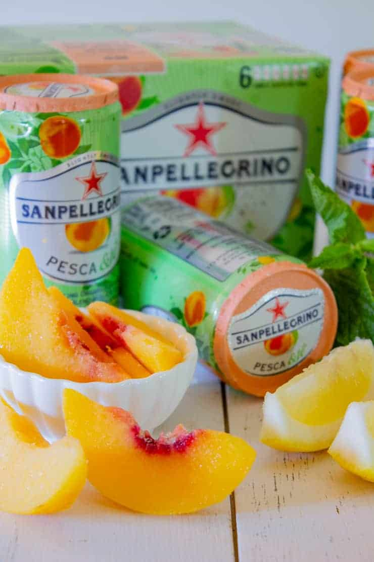 Peaches, lemon, mint and Sanpellegrino.