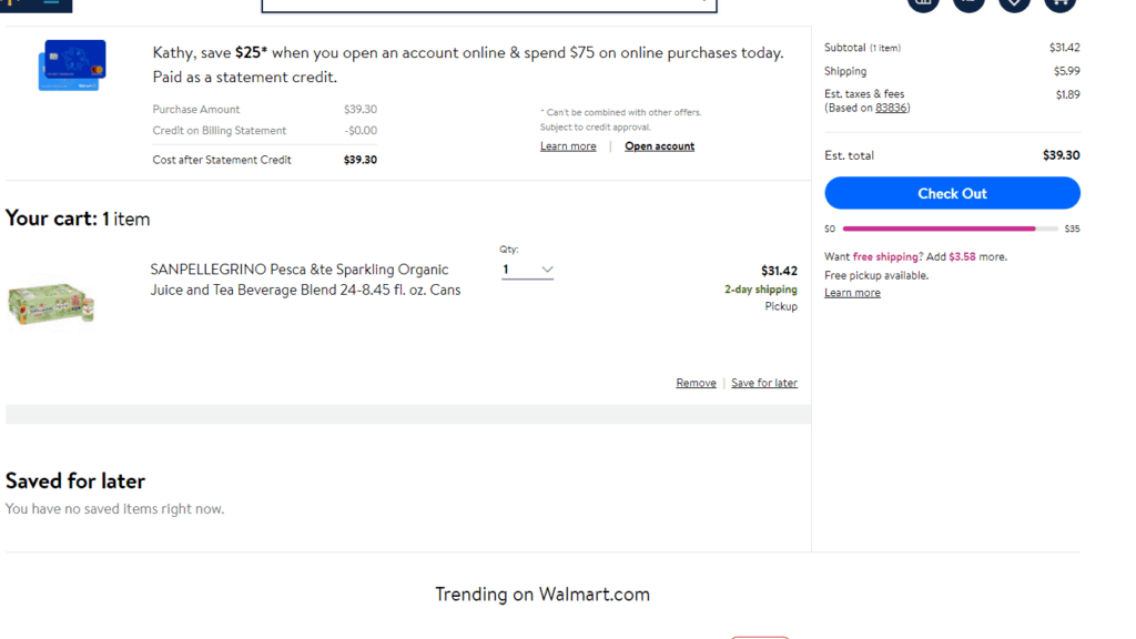 screenshot of Walmart cart