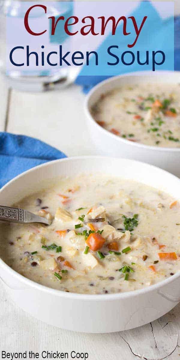 Creamy chicken soup in a white bowl.