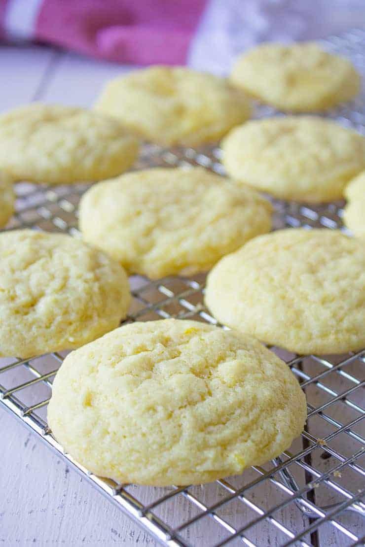 Lemon cookies on a baking rack.