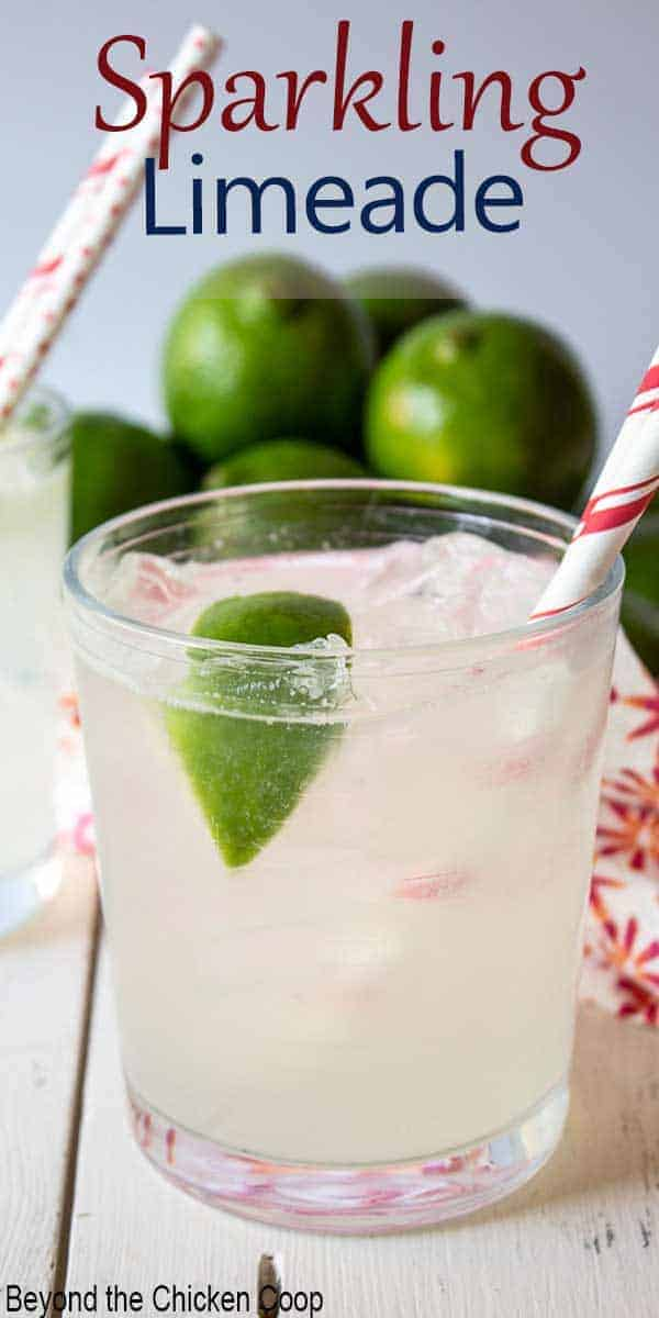 A glass filled with a clear beverage and topped with a lime wedge.