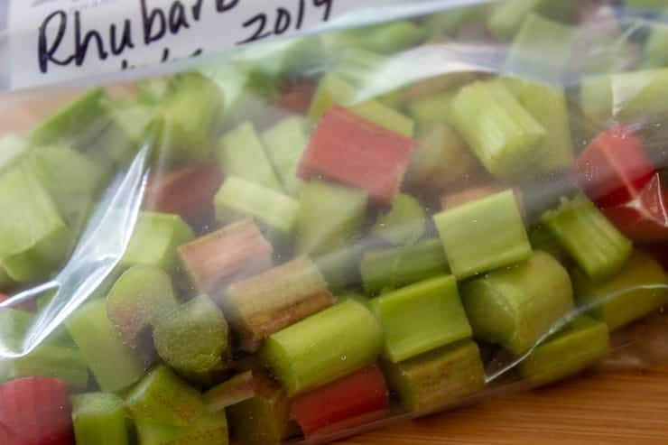 A freezer bag filled with rhubarb.
