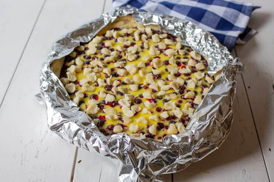 Pie crust covered with foil.