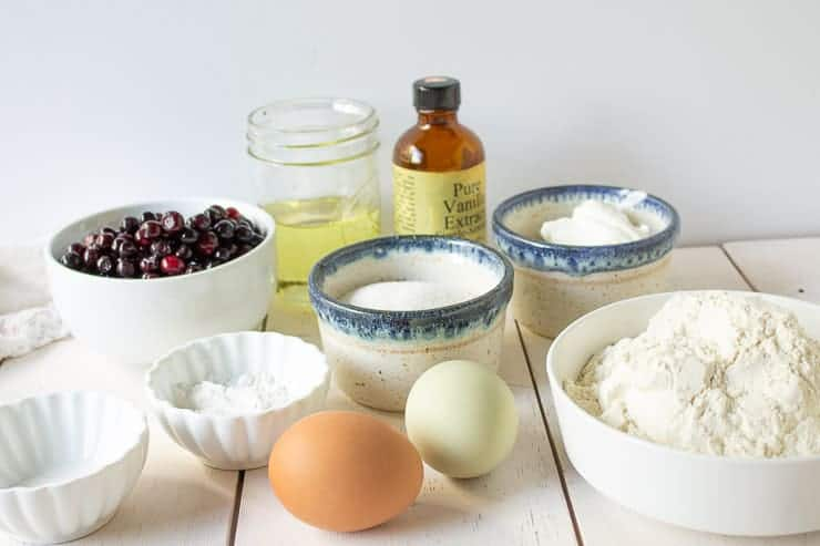 Flour, sugar, eggs and huckleberries together with a few other ingredients.