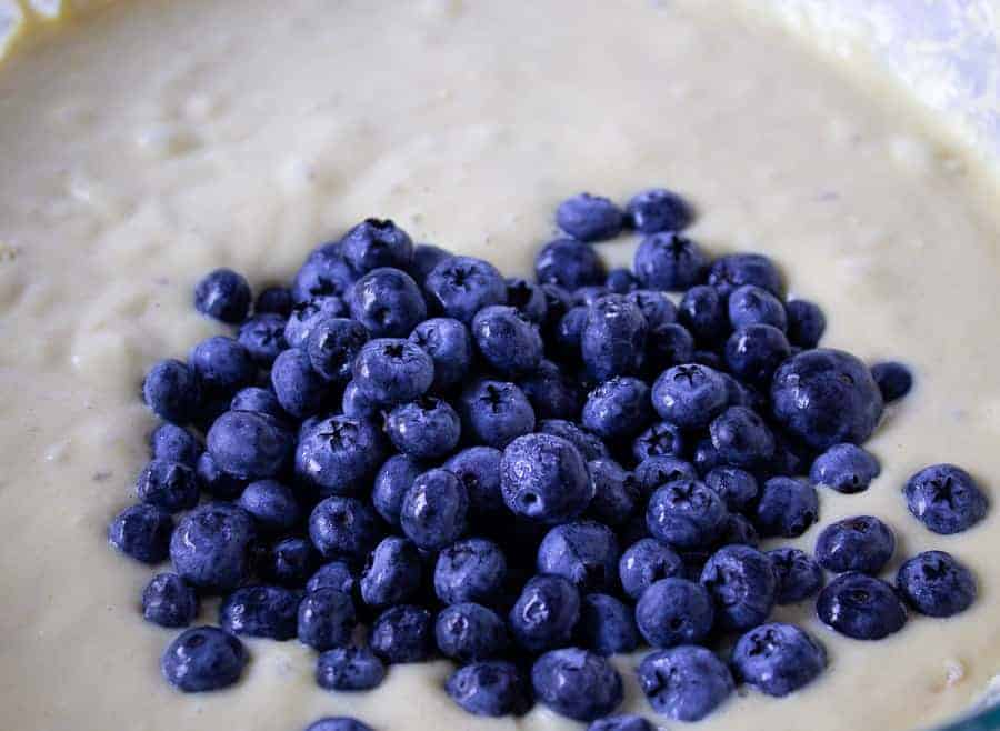 Blueberries added to coffee cake batter.