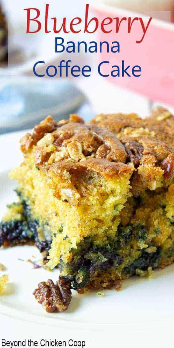 A slice of coffee cake filled with blueberries and topped with pecans.
