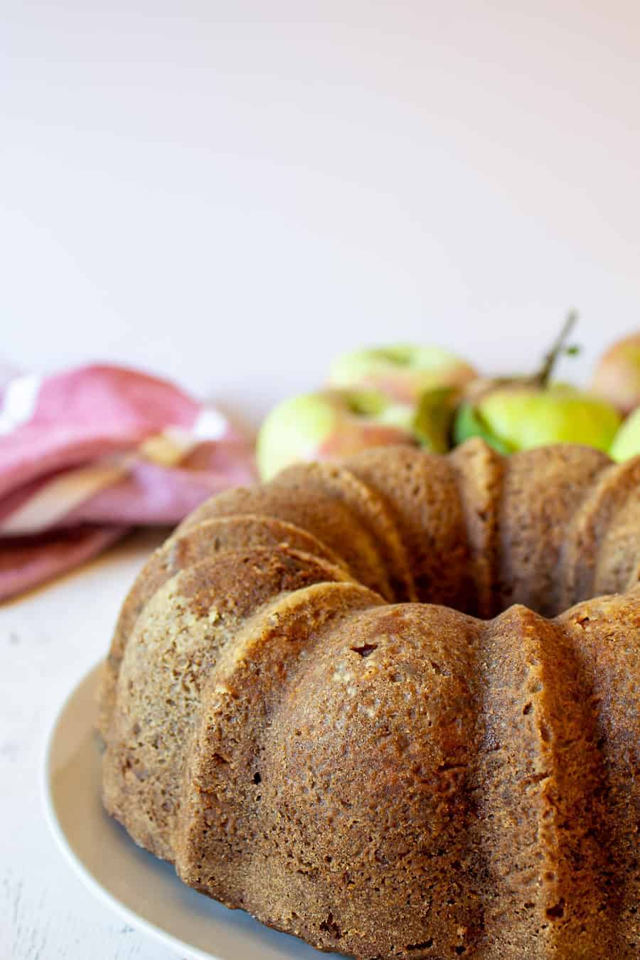 Apple Cake baked into a round bundt cake.