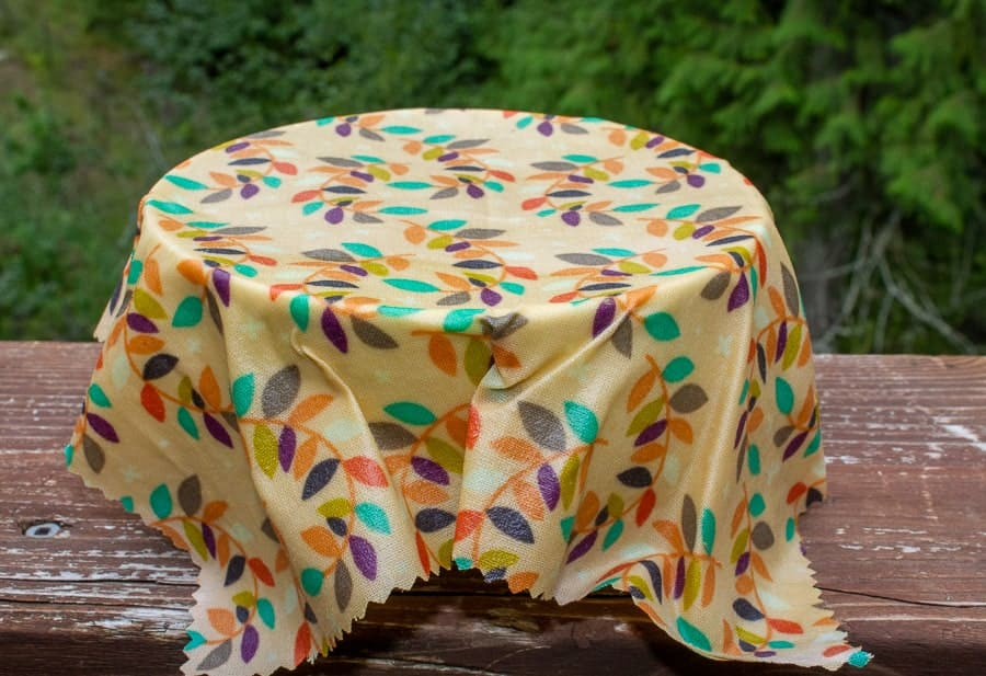DIY beeswax wrap covering a bowl.