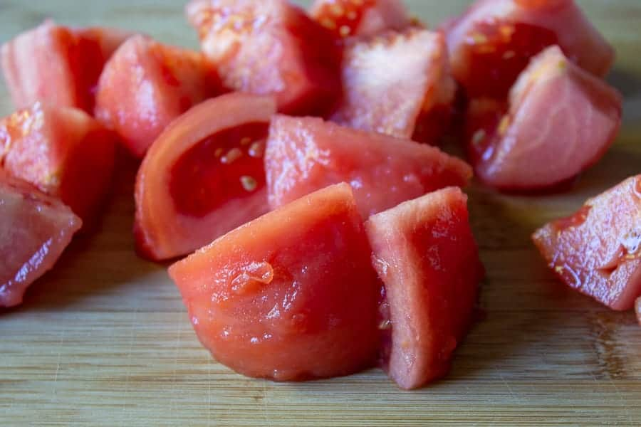 Peeled and chopped tomatoes.
