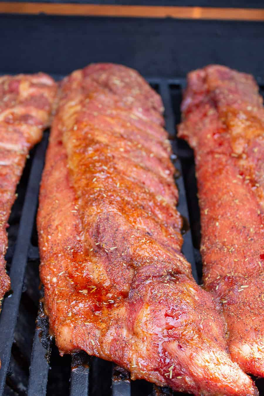Pork ribs on grill.