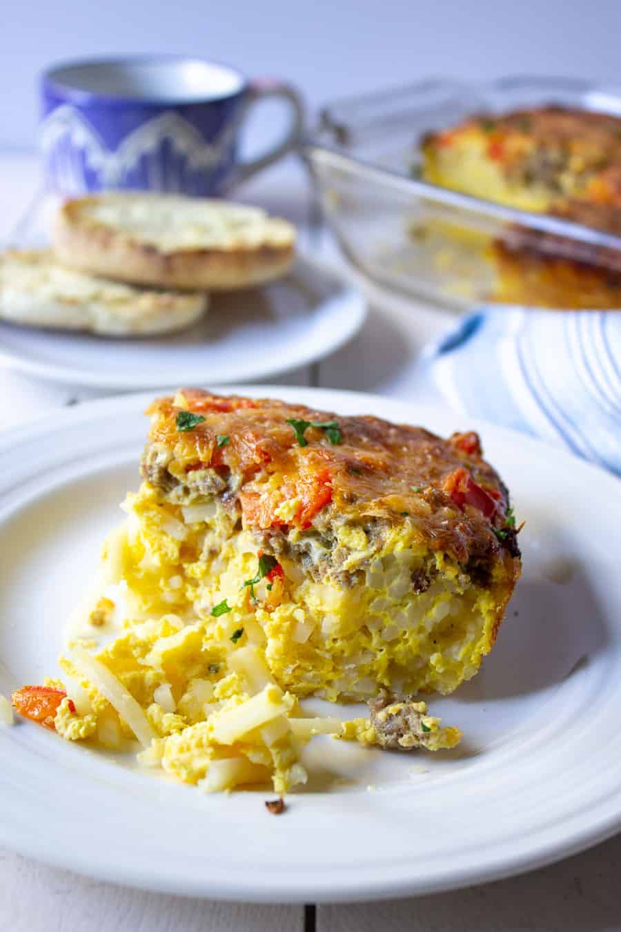 Egg casserole with hash browns and bell peppers.