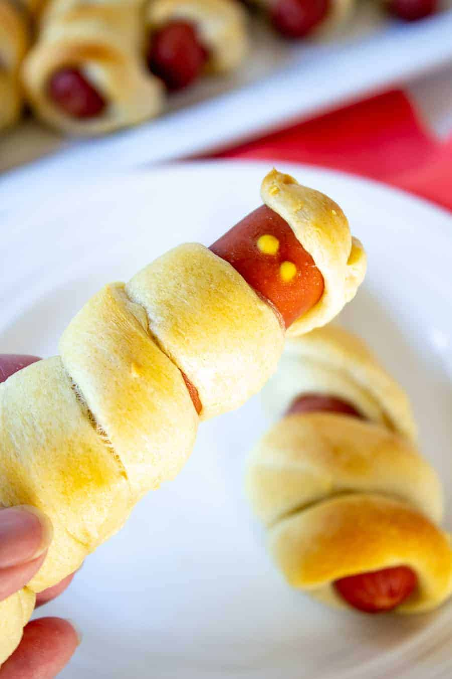 A hot dog wrapped in bread dough.