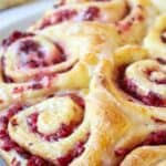 Sweet rolls filled with chopped cranberries.