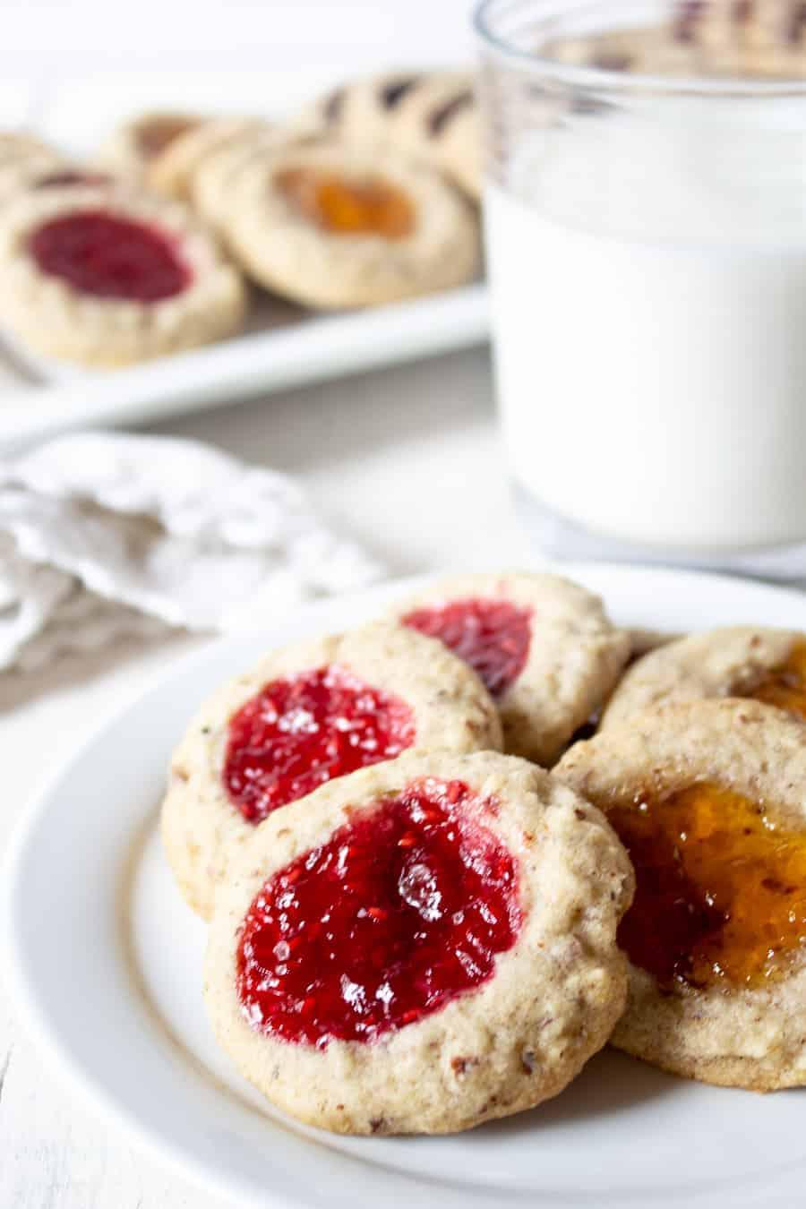 A plateful of thumbprint cookies.
