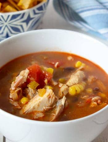 A bowlful of turkey soup with tomatoes and veggies.