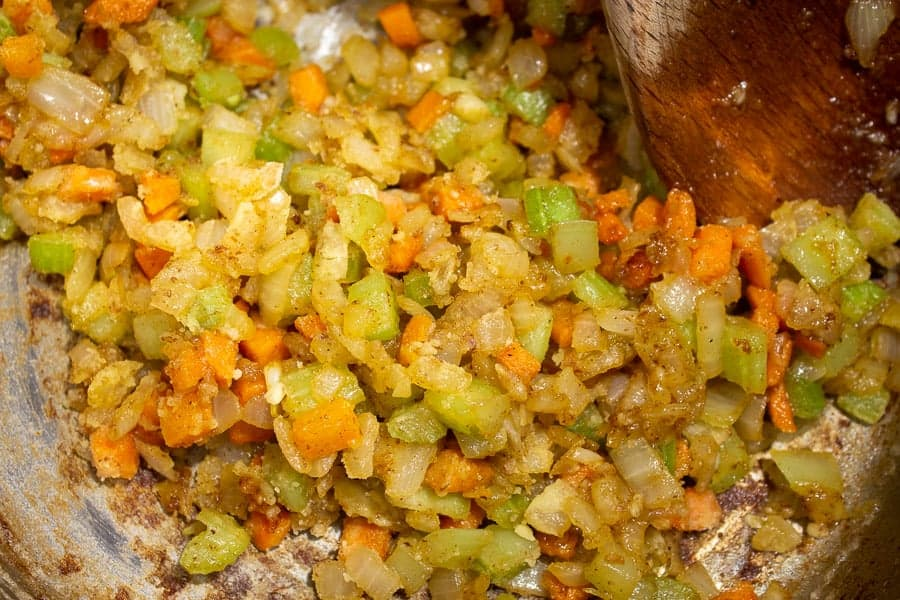 Cooked carrots, celery and onions coated with flour.