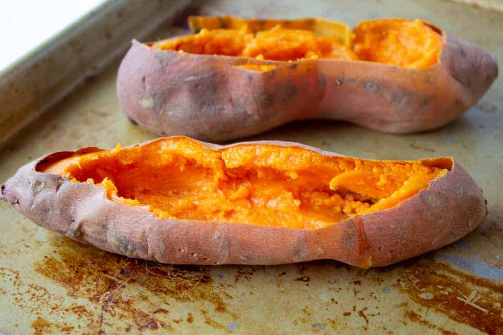 Sweet potatoes with insides scooped out.