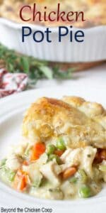 Creamy dish filled with chicken and veggies and topped with a flaky crust.