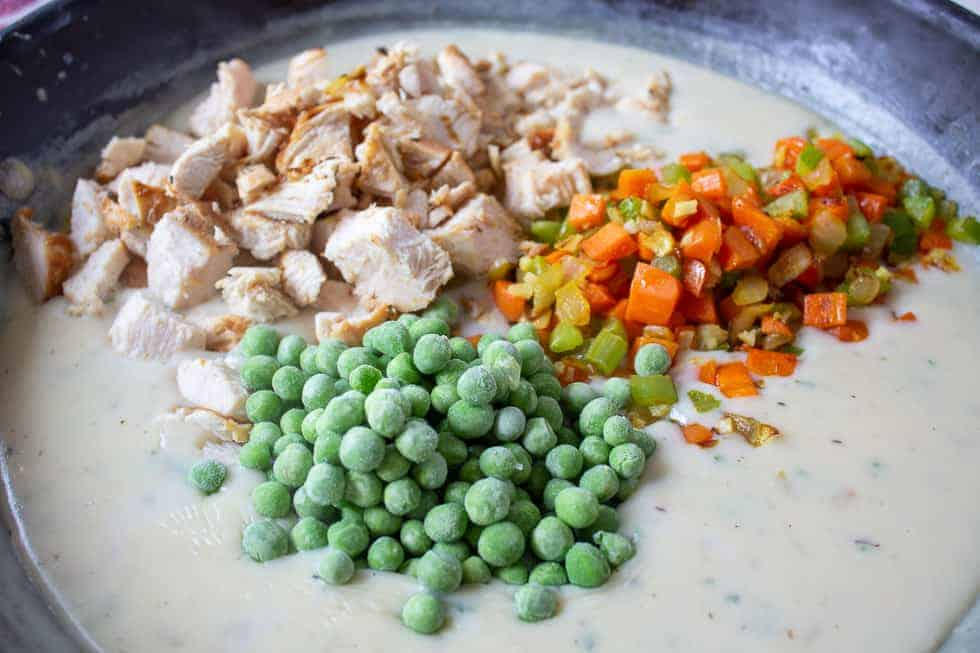 Frozen peas, chunks of chicken and veggies in a thick sauce.