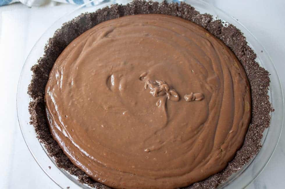 Chocolate filling in a chocolate pie crust.