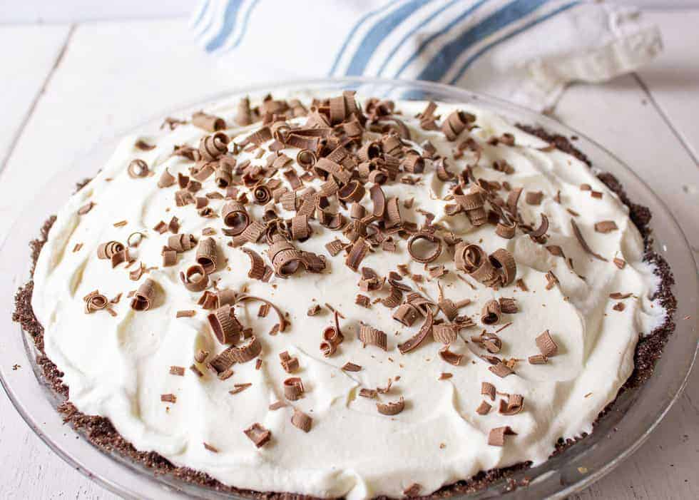 Chocolate shavings on top of a pie.