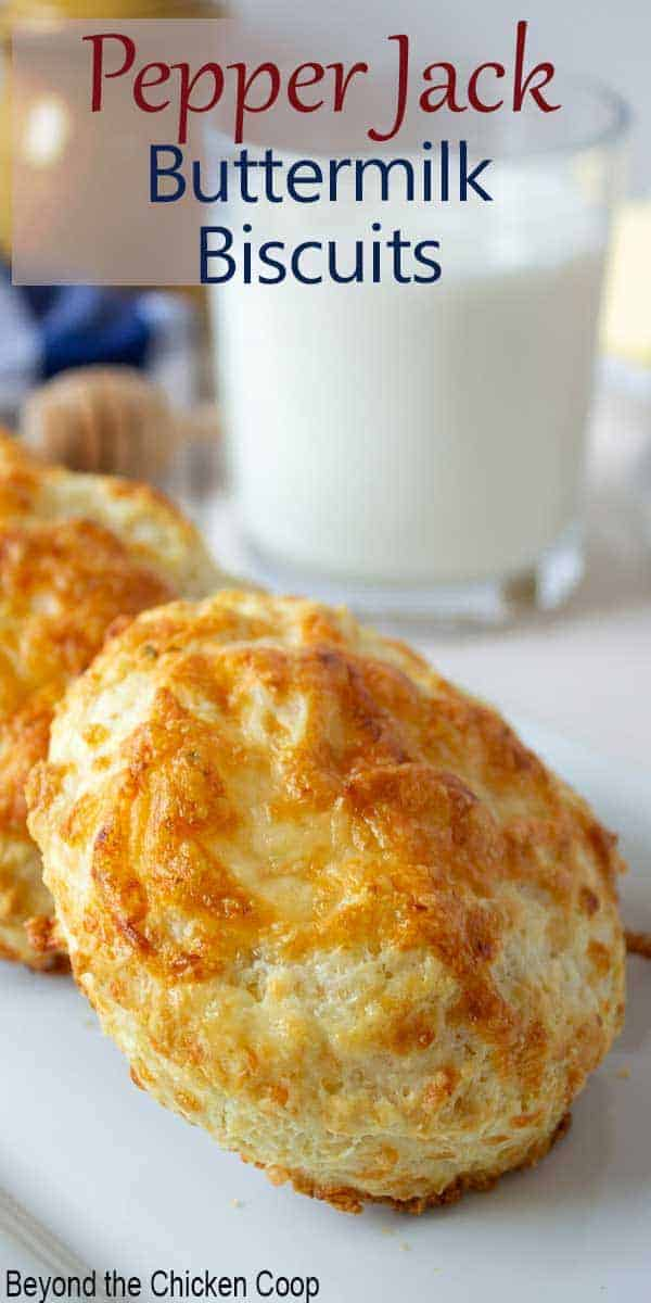 Cheesy biscuits on a white plate with a glass of milk in the background.