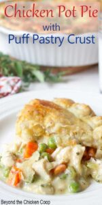 Chicken filling with peas and carrots with a flaky crust.