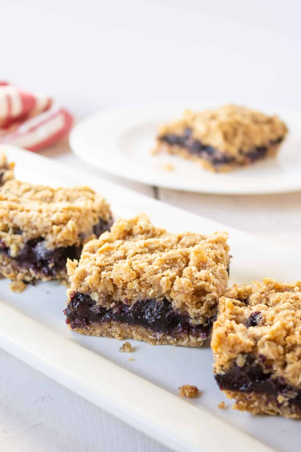 Blueberry bars with an oatmeal crumb topping.