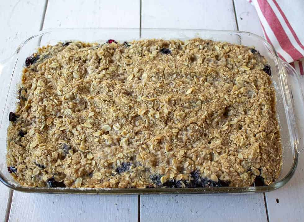 Blueberry Crumb Bars in a glass baking dish.