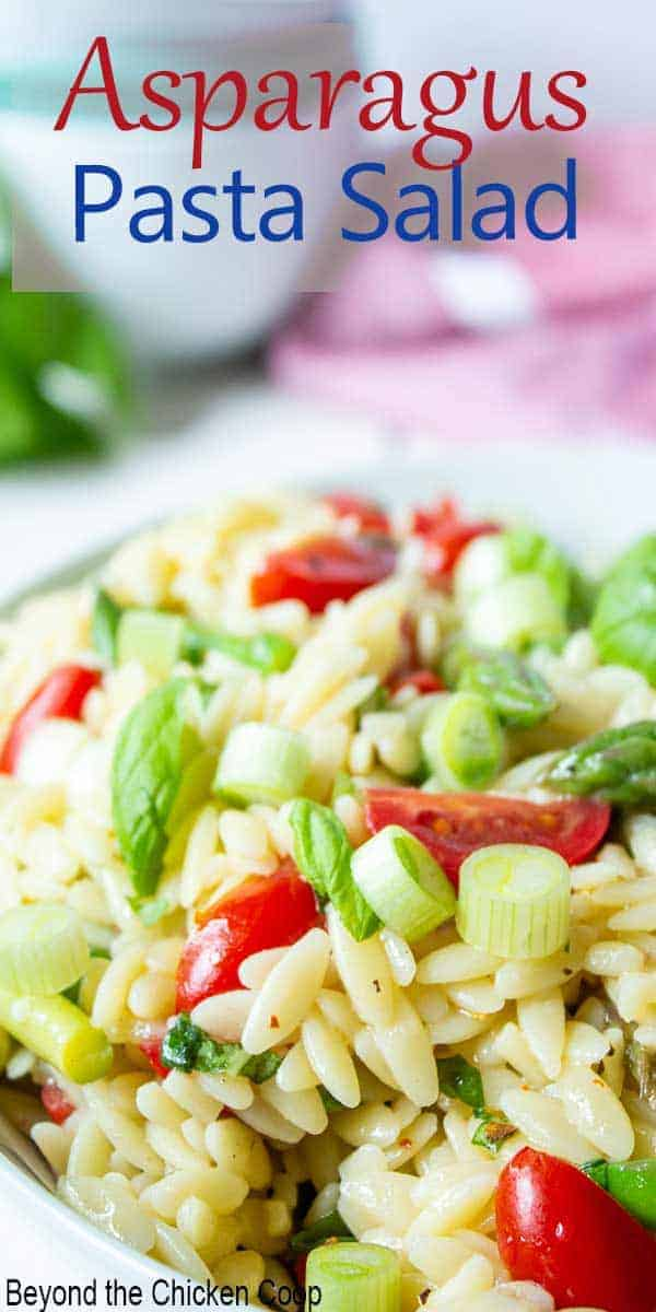 Orzo pasta mixed with tomatoes and asparagus.