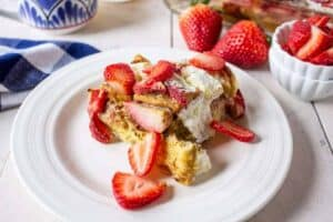 Baked french toast with fresh strawberries.