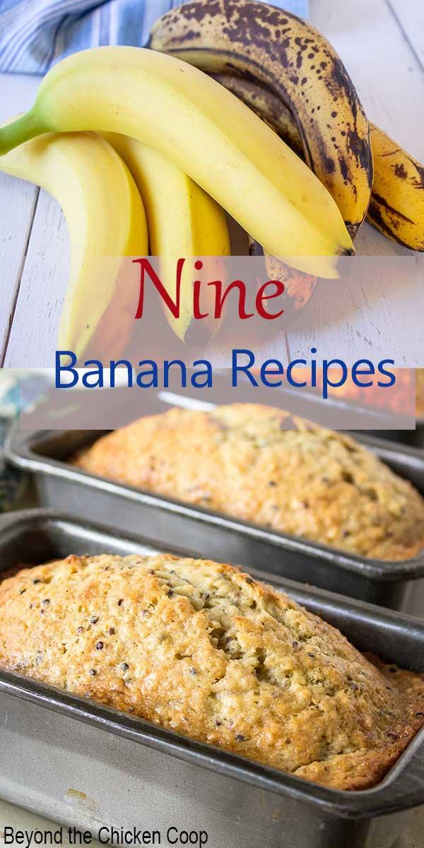 A bunch of bananas and banana bread.
