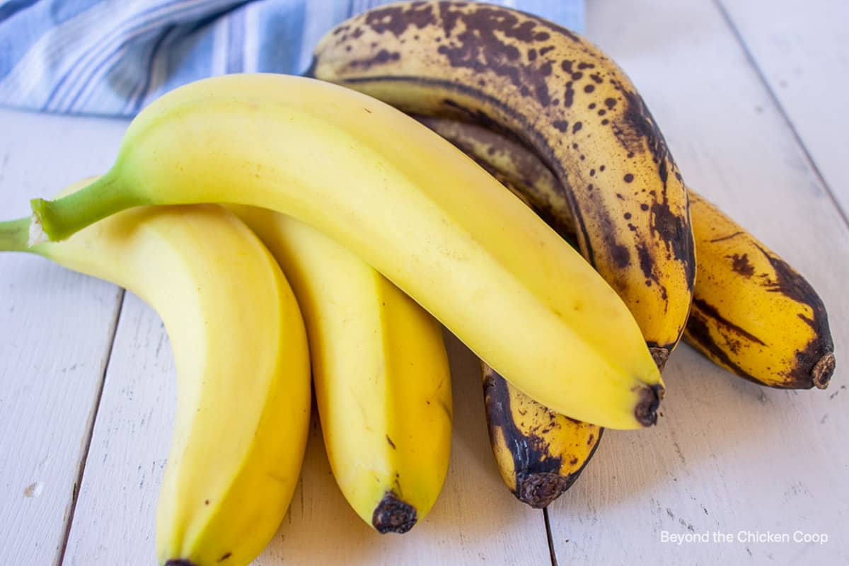 A stack of bananas ranging from yellow to very dark.