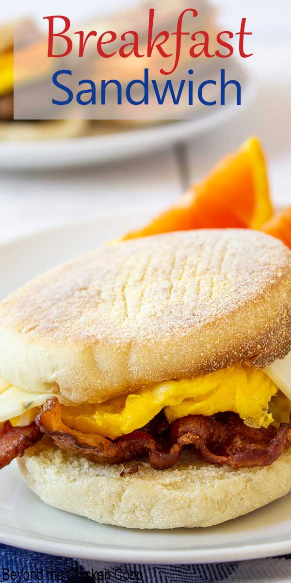 An English muffin with bacon, eggs and cheese.