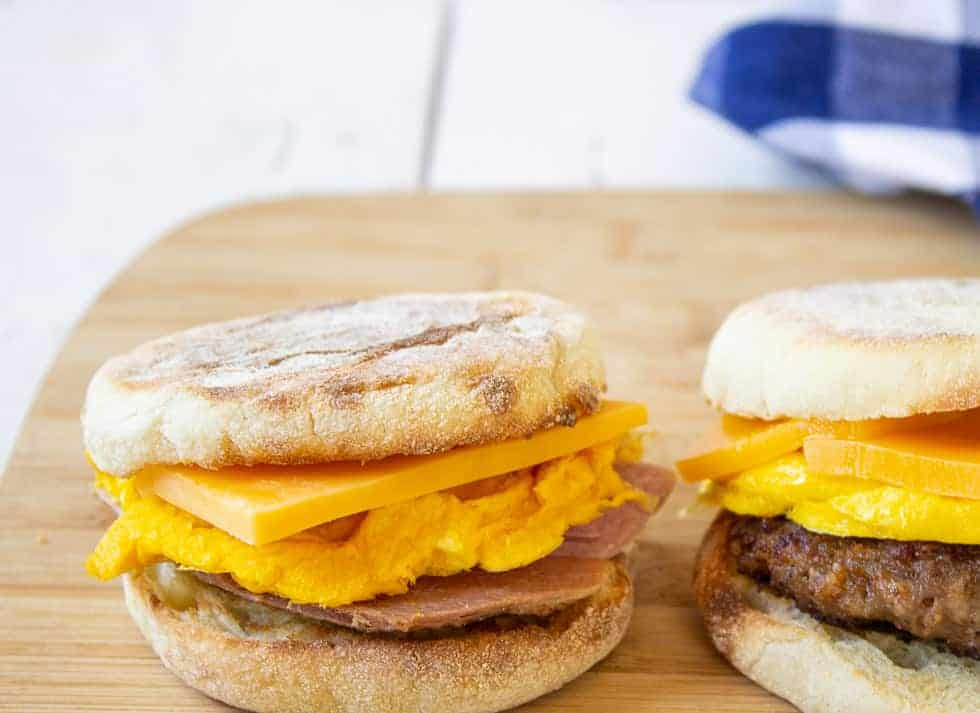 English muffin with ham, eggs and cheese.