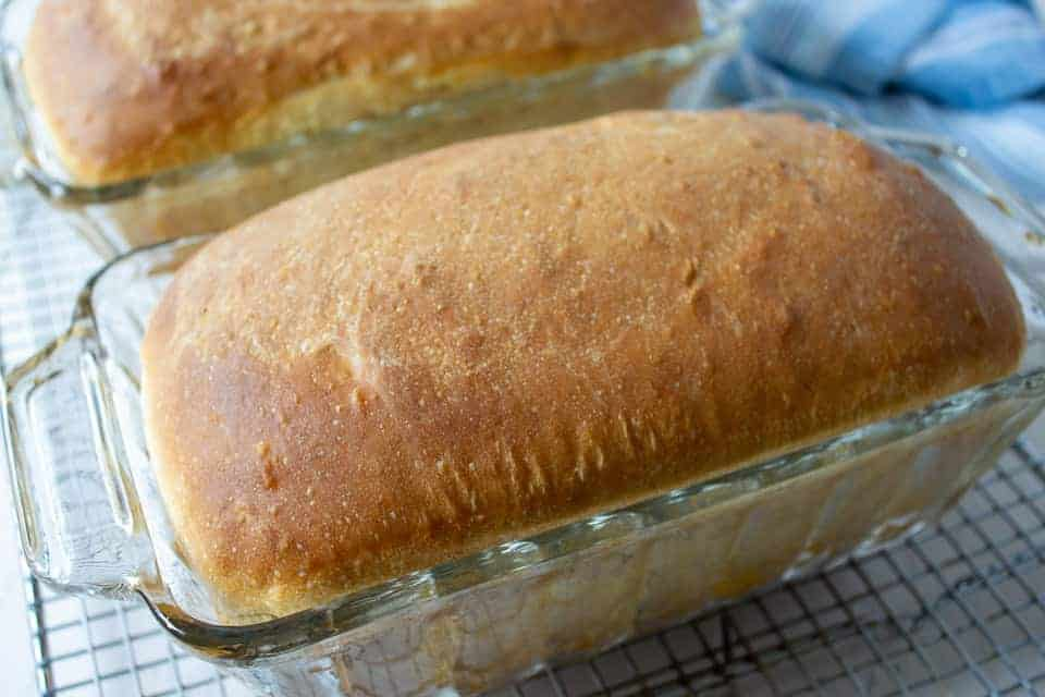 Baked loaves of bread in a glass loaf pan.