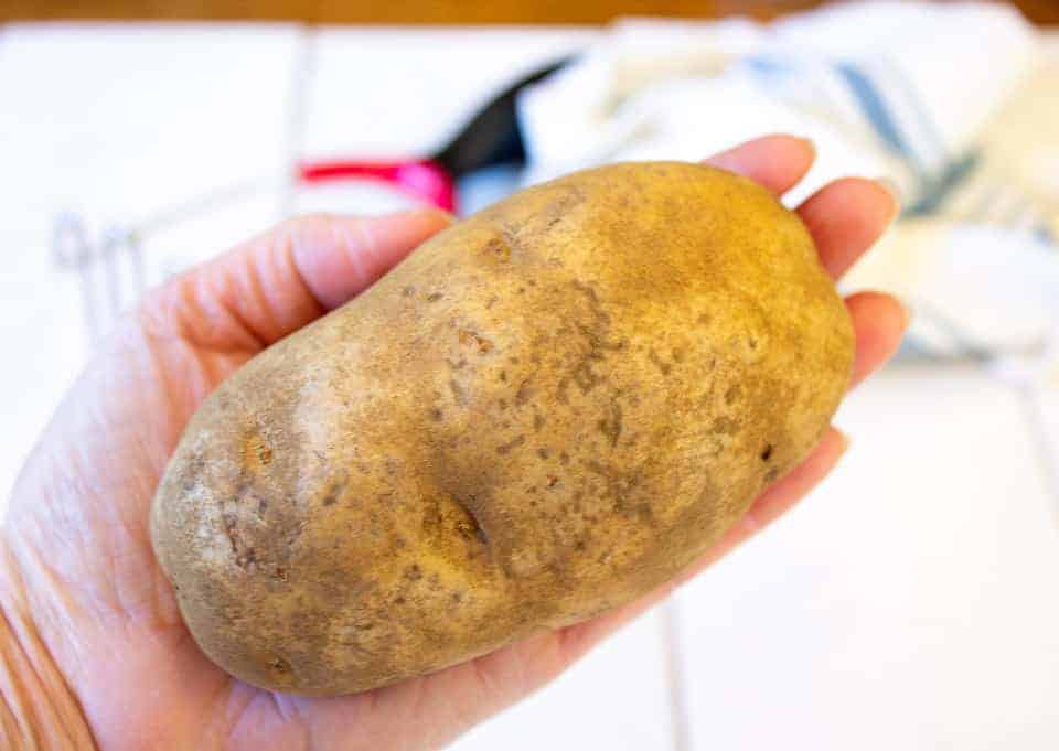 A russet potato being held in one hand.