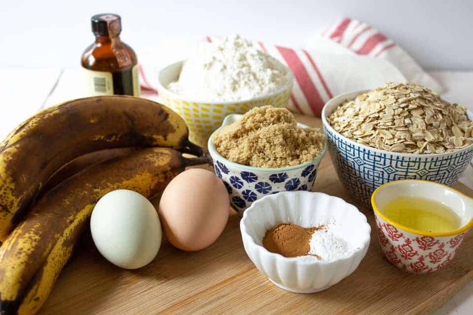 Ingredients needed for making banana oat bread.