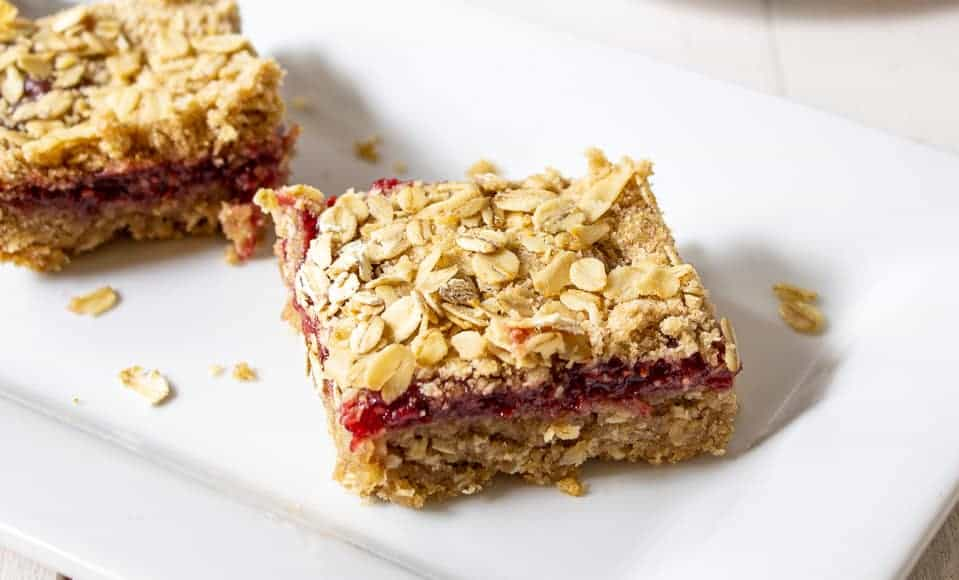 Oat bars with a raspberry filling.