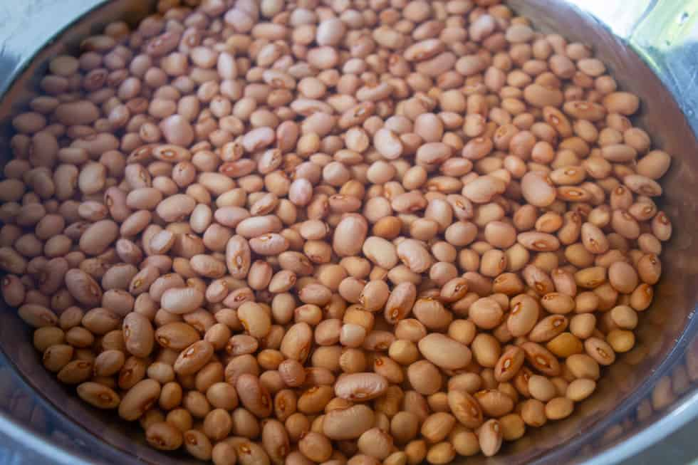 Pinquito beans in a pot filled with water.